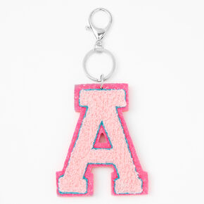 Pink Varsity Initial Keychain - A,