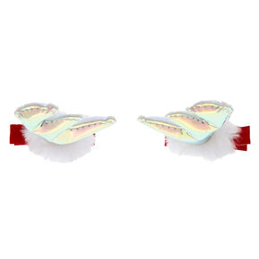 Holographic Reindeer Antler Hair Snap Clips - 2 Pack,