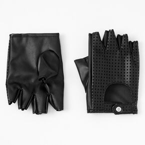 Faux Leather Fingerless Gloves - Black,