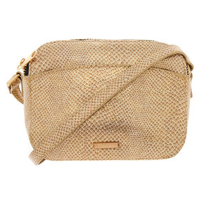 Snake Skin Crossbody Bag - Gold,