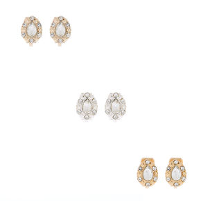 Mixed Metal Crystal Tear Drop Clip On Stud Earrings - 3 Pack,