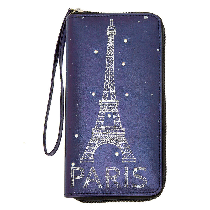 Paris Oil Slick Wristlet - Purple,