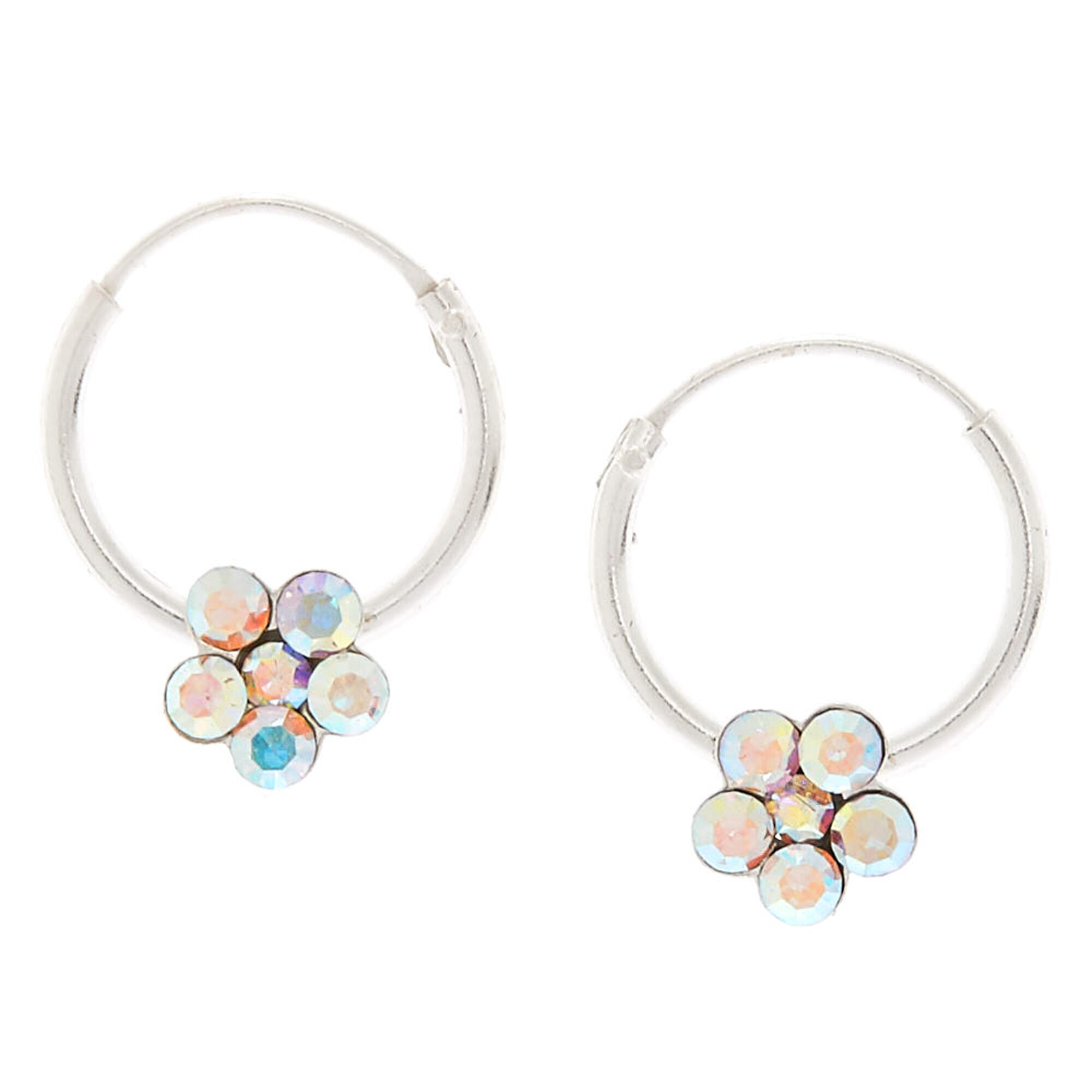Sterling Silver 12mm Iridescent Flower Hoop Earrings