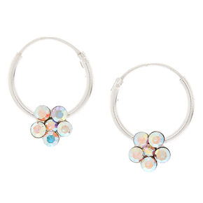Sterling Silver 12MM Iridescent Flower Hoop Earrings,