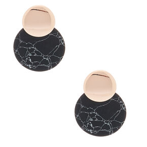 "Rose Gold 1"" Marbled Drop Earrings - Black,"