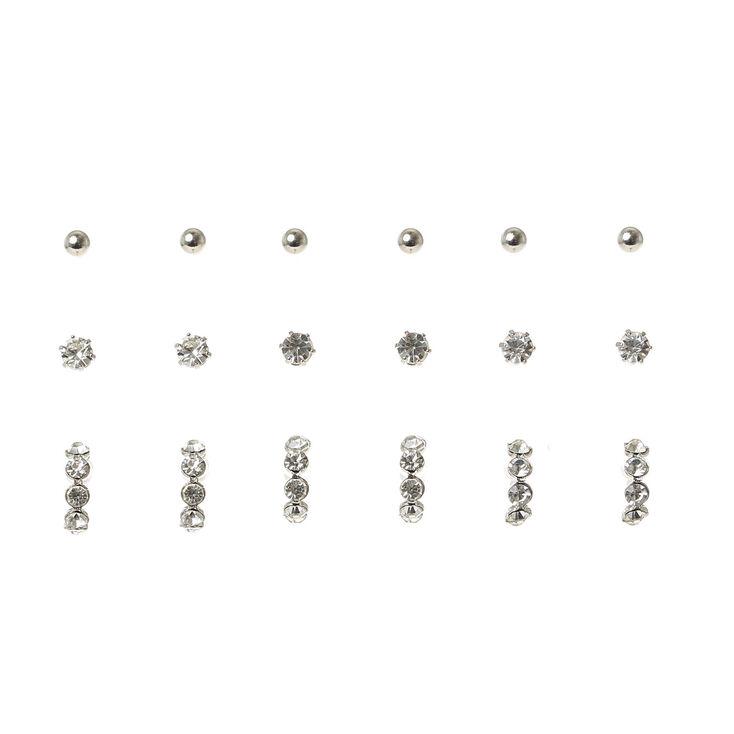 Silver Ball & Crystal Stud Earring Set,