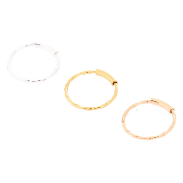 Sterling Silver 22G Mixed Metal Nose Rings - 3 Pack,
