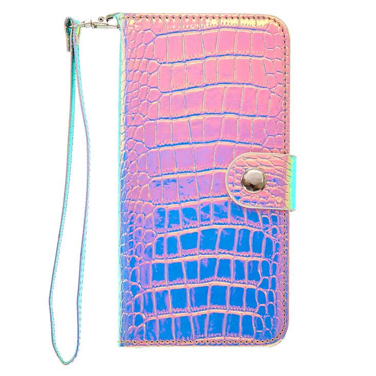 Holographic Crocodile Skin Wristlet Case - Fits iPhone 6/7/8 Plus,