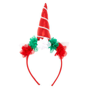 Christmas Unicorn Floral Headband - Red,