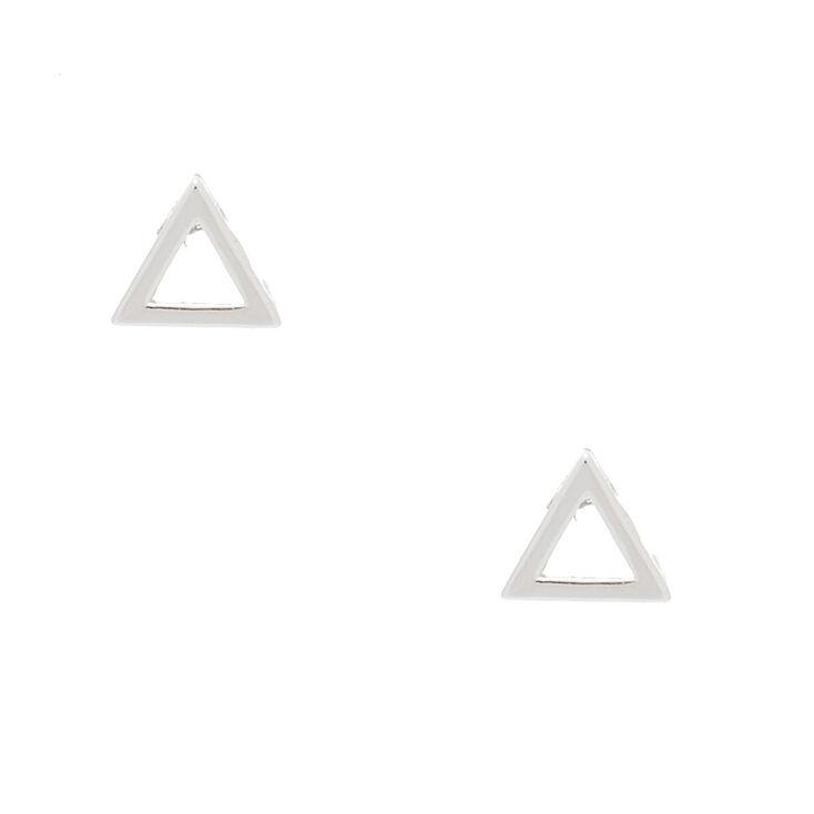 Sterling Silver Open Triangle Stud Earrings,