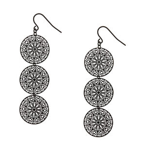 Black Filigree Circle Drop Earrings,