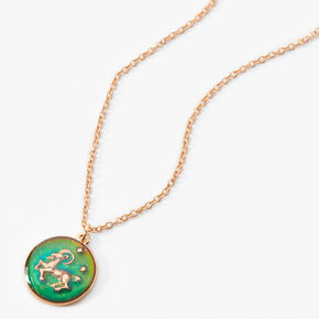 Gold Round Mood Zodiac Pendant Necklace - Aries,