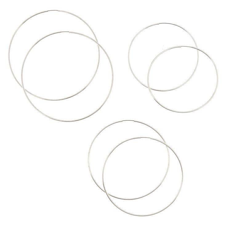 3 Pack 60MM, 70MM, & 80MM Silver Tone Skinny Graduated Hoop Earrings,