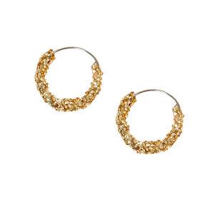 Gold 10MM Glitter Hoop Earrings,