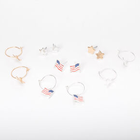 Stars & Stripes Mixed Earrings - 6 Pack,