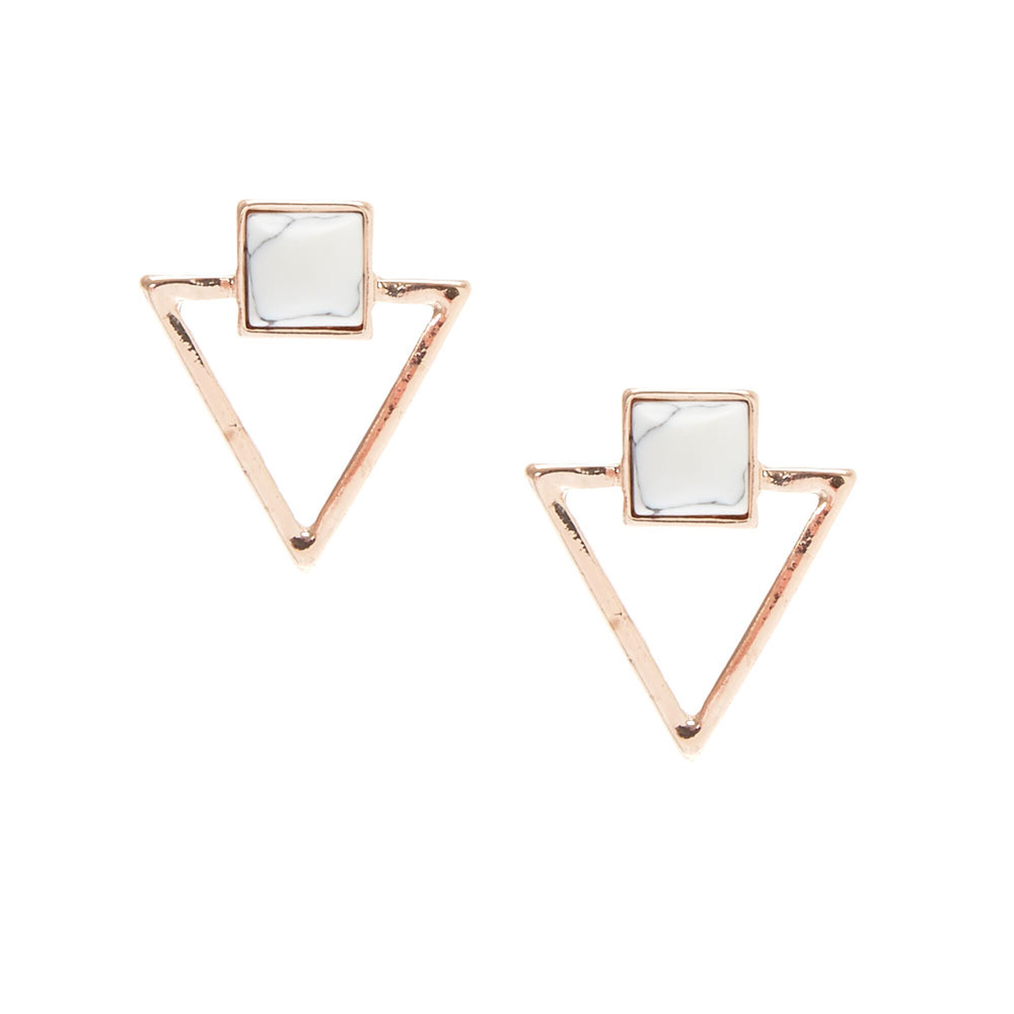 98f385096 Rose Gold & Marble Triangle Stud Earrings | Icing US