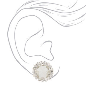 Silver Crystal Stud Earrings,