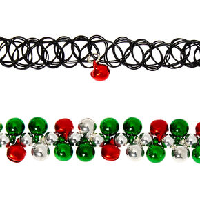Christmas Bell Choker Necklaces - 2 Pack,