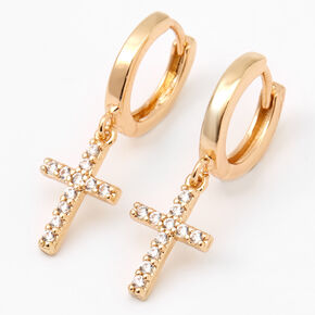 Gold Cubic Zirconia Cross Huggie Hoop Earrings,