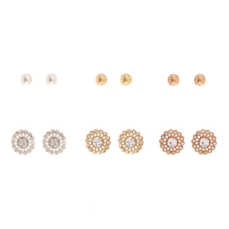 Mixed Metal Stud Earring Set,