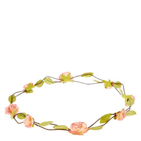 Pink Rosette Flower Garland Crown,