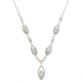 Silver Glass Rhinestone Teardrop Statement Necklace,