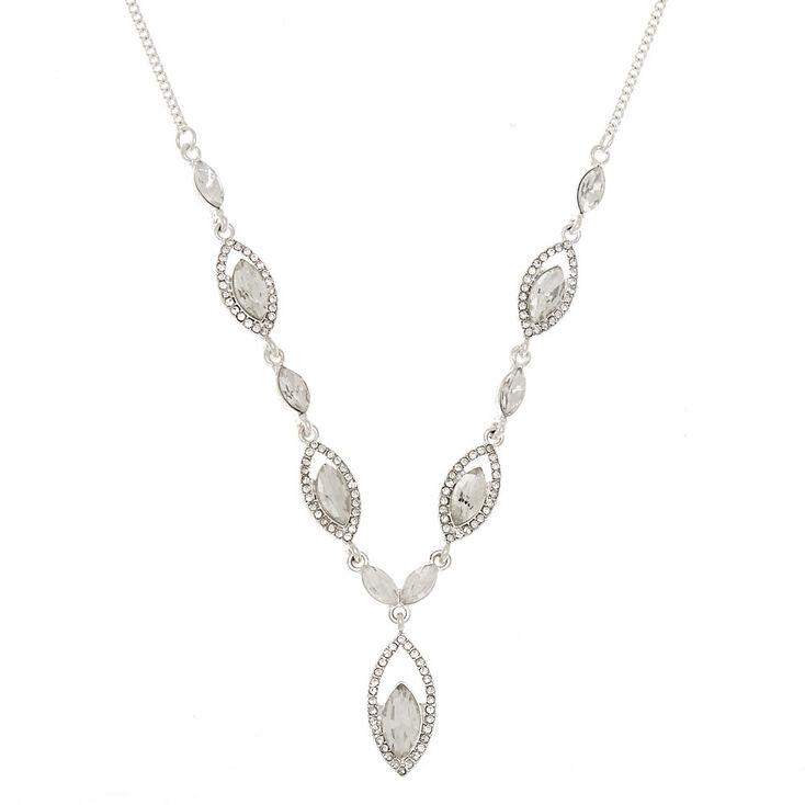 Silver Glass Rhinestone Teardrop Statement Necklace,