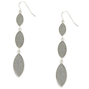 Silver Glitter Tiered Drop Earrings,
