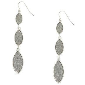 Silver Glitter Tiered Drop Earrings,