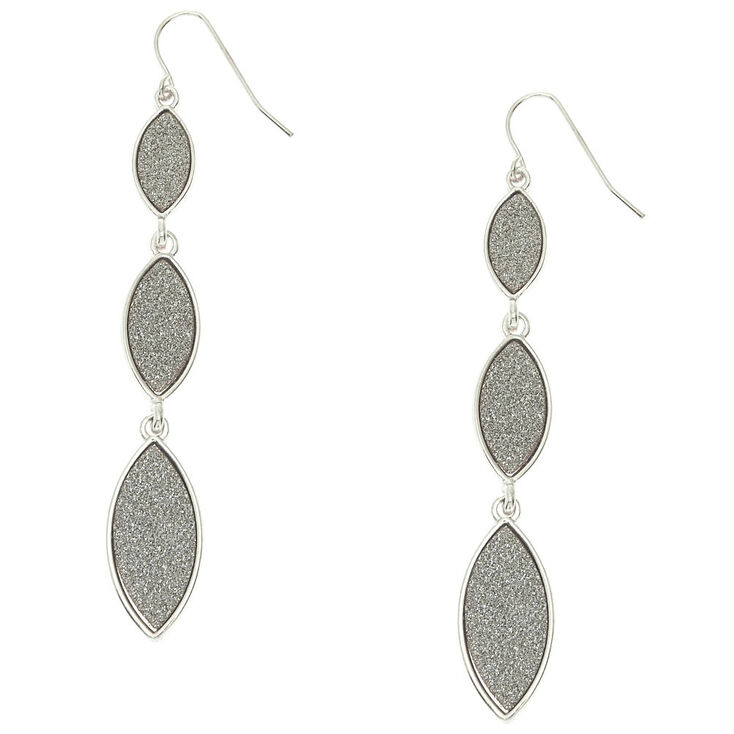Silver Glitter Tiered Drop Earrings | Icing US