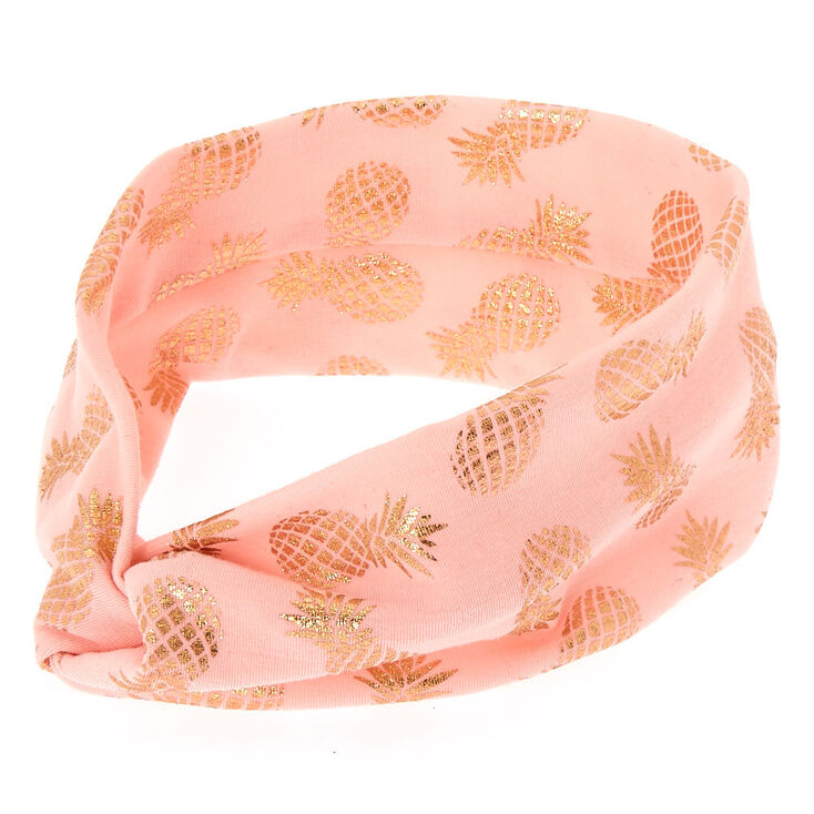 Wide Jersey Metallic Pineapple Headwrap - Rose Gold,