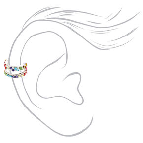 Silver Crystal Two Row Ear Cuff Earring - Rainbow,