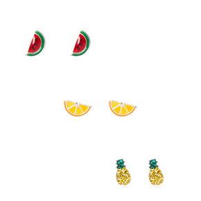 3 Pack 925 MM Sterling Silver Fruit Salad Stud Earrings,