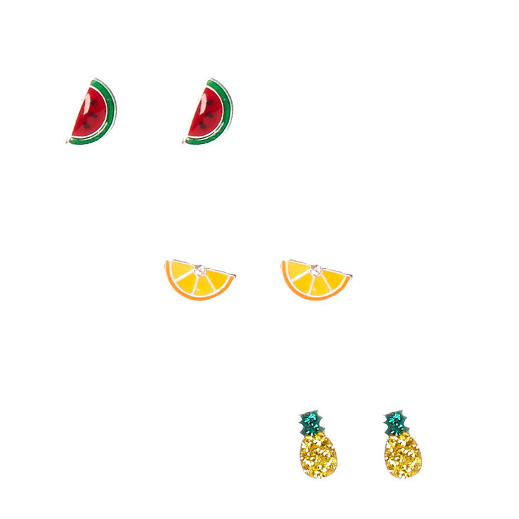 3 Pack 925 MM Sterling Silver Fruit Salad Stud Earrings,