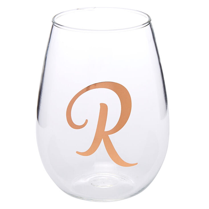 """Rose Gold-Tone """"R"""" Initial Stemless Wine Glass,"""