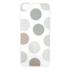 Silver Glitter Polka Dot Phone Case - Fits iPhone 6/7/8 Plus,