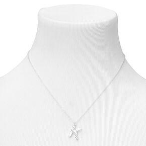 Silver Ridge Initial Pendant Necklace - K,