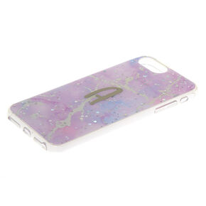 Lilac Marble Glitter A Initial Phone Case - Fits iPhone 6/7/8 Plus,