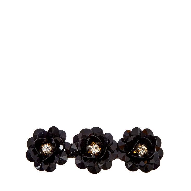 Black Beaded Flower Hair Barrette,