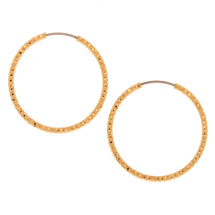 Gold 25MM Textured Hoop Earrings,