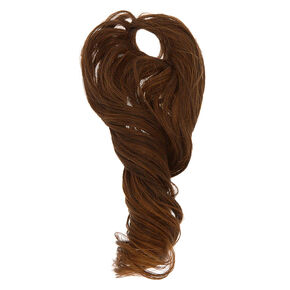 Long Curly Faux Hair Tie - Brown,