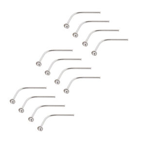 20G Sterling Silver & Crystal Bend to Fit Nose Studs Set of 12,