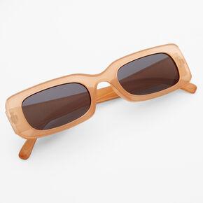 Rectangular Retro Sunglasses - Latte,