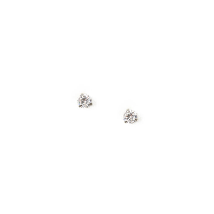 6MM Cubic Zirconia Round Martini Set Stud Earrings,