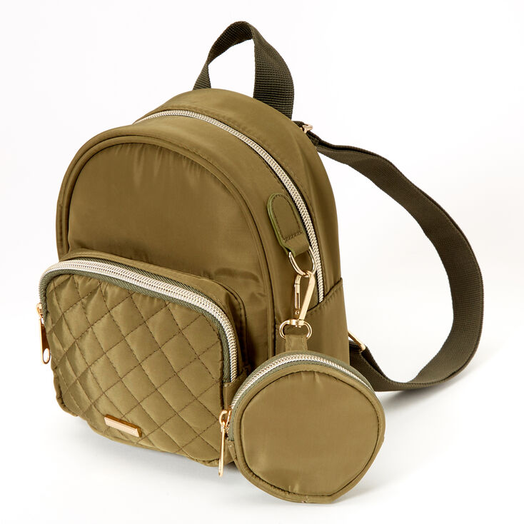 Nylon Quilted Small Backpack - Olive,