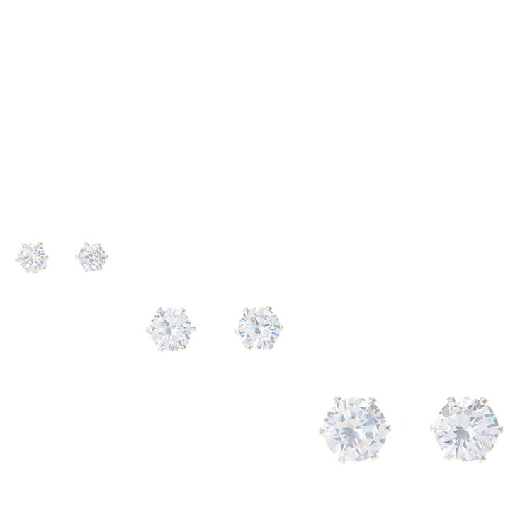 4MM, 6MM & 9MM Round Cubic Zirconia  Stud Earrings  - 3 Pack,
