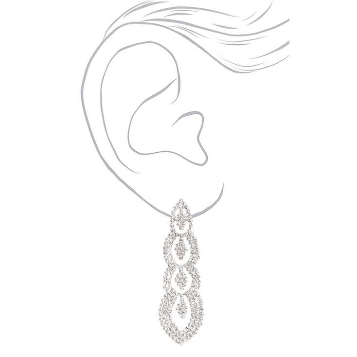 """Silver 2.5"""" Rhinestone Regal Drop Earrings,"""