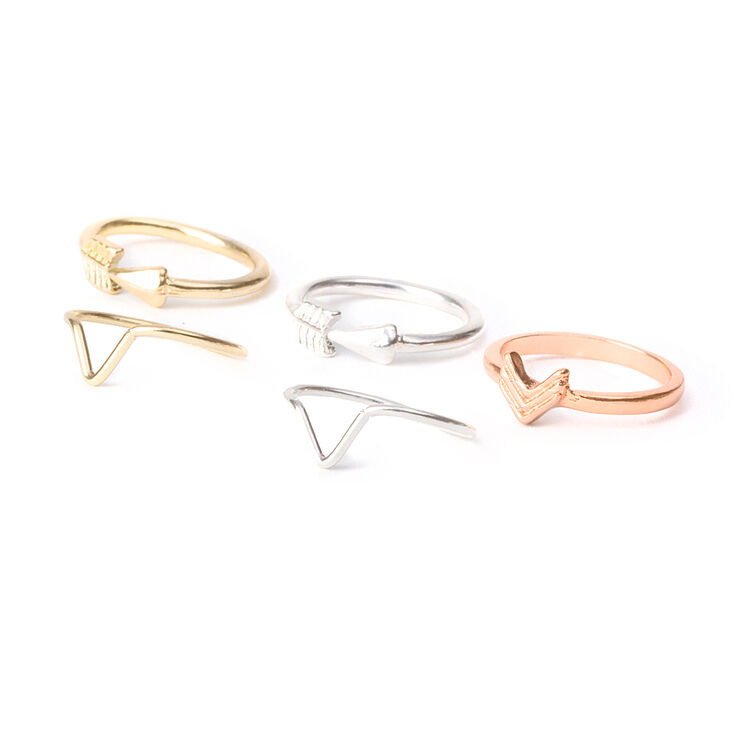 Polished Arrow Midi Rings  - 5 Pack,