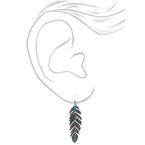 "Gold 2.5"" Patina Feather Drop Earrings - Turquoise,"