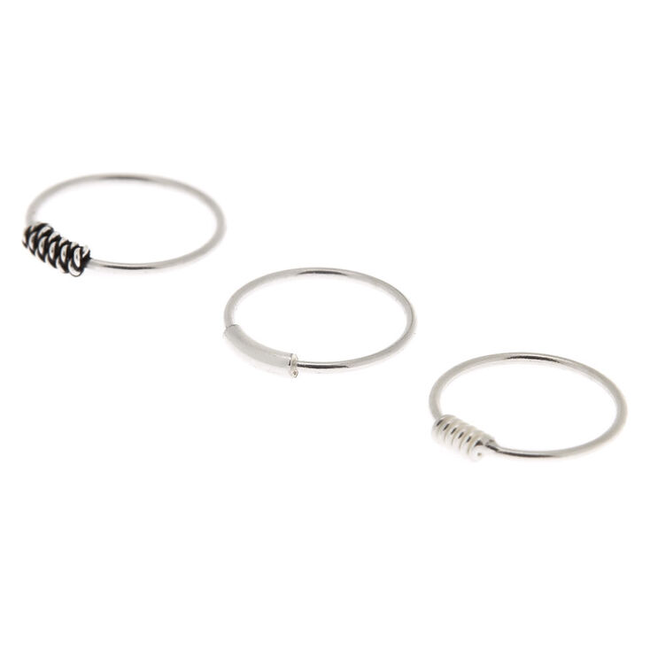 Sterling Silver 22G Coiled Cartilage Hoop Earrings - 3 Pack,